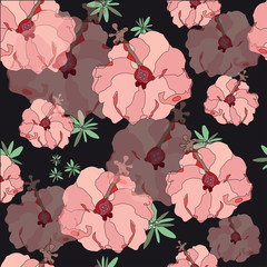 Luxury seamless pattern with flowers. Large pink flowers on a black background. Free style. Floral background for textiles, Wallpaper, packaging, scrapbooking.