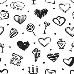 Vector love seamless pattern made of doodle hand drawn hearts and romantic things. Pattern for design greeting cards on St Valentine's Day.