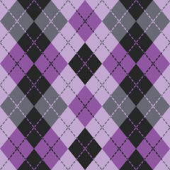 Dashed Argyle pattern in purple and black repeats seamlessly.