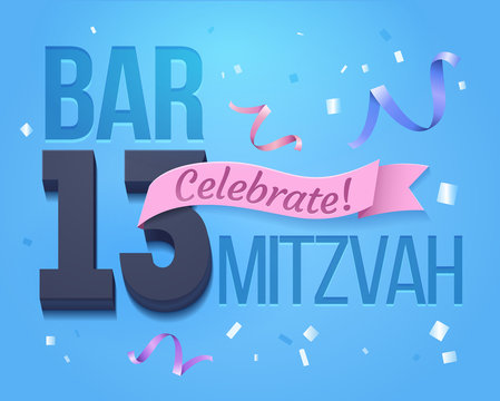 Bat Mitzvah Invitation Card.Greeting card for a jewish boy Bar Mitzvah in its 13th anniversary.For design, banner design,poster for print or web,media,promotional material with Blue Background .Vector