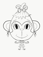 Coloring, small, funny monkey girl