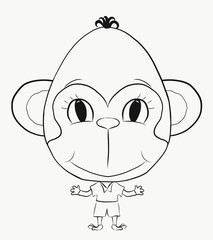 Coloring, small, funny monkey boy