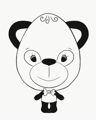Coloring, small, funny panda