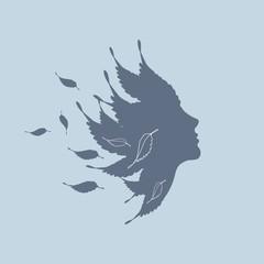 прекрасный профиль на ветру