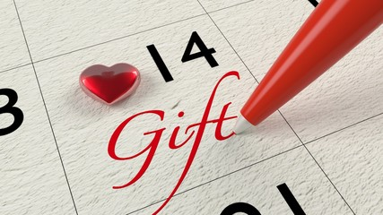 Calendar February 14 with heart and gift