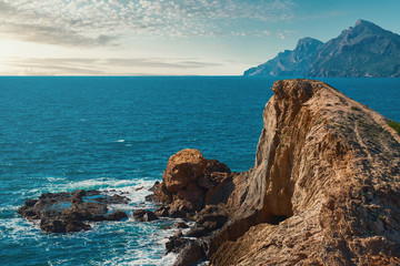 Rocky coast of Portman. Murcia, Spain