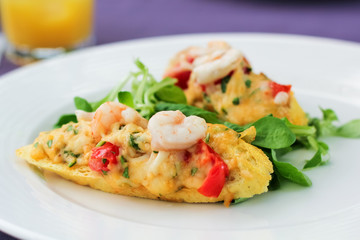 Bruschetta with shrimps on the plate