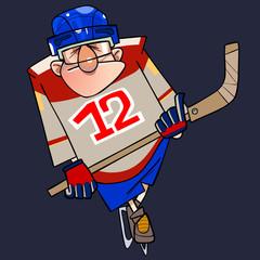 cartoon man in hockey form on skates with a stick