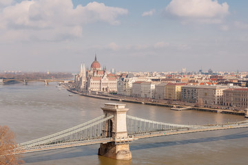 Panoramic overview of Budapest on foreground the Parliament building and chain bridge