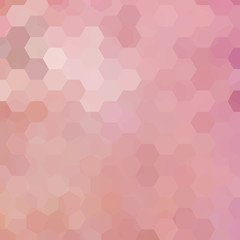 Background made of pastel pink hexagons. Square composition with geometric shapes. Eps 10