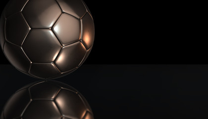 Gold soccer ball on reflection with black background, 3d rendering