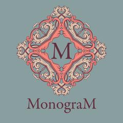 Vintage graceful monogram design template.