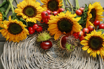 Wall Mural - Sunflowers, wild rose fruits and chestnuts in wicker basket.