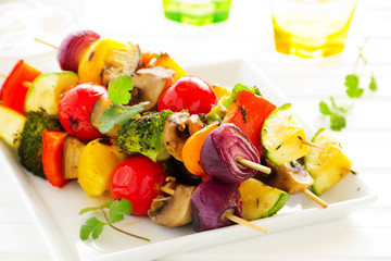 Vegetable Skewers (ratatouille) on skewers.
