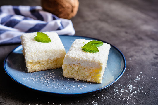 Delicious cake with coconut and ricotta topping