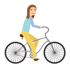 Happy young woman riding bicycle isolated on white background. Flat style