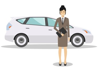 Asian businesswoman standing near the blue car on white background in flat style. Business concept. Detailed illustration of automobile and woman. Flat design people character. Vector illustration.