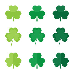 Set, collection of flat design green clover leaves, shamrock. Symbol of St.Patrick's Day.