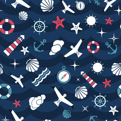 Vector flat sea design seamless pattern