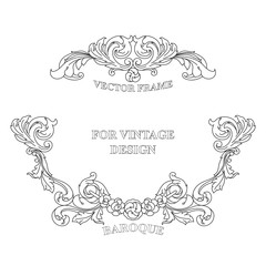 Vector vintage frame with floral ornament on white background.