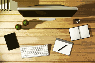 3D Rendering : illustration of top view modern creative workplace.PC monitor on wooden table.sunlight shining from the outside.filtered image to comic halftone