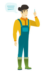 Young asian farmer with speech bubble.