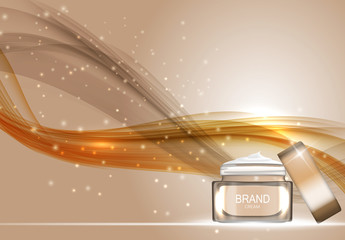 Face Cream Bottle Tube Template for Ads or Magazine Background.