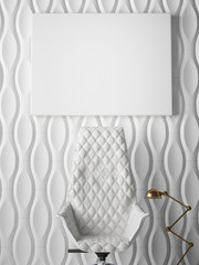 white poster on pattern wall, 3d illustration