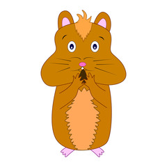 Vector illustration of cute cartoon hamster eating nut