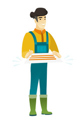 Farmer holding a contract vector illustration