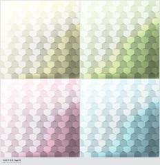 Abstract vector backgrounds set of 4. Hexagonal geometric backgrounds. Vector illustration. Eps10.