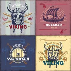 Vintage Viking Emblems Set