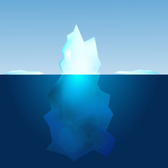 Underwater view of iceberg. Landscape background