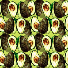 Avocados seamless pattern. Watercolor Illustration.
