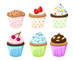 Cupcake vector set isolated Cake collectin sweet candy