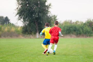 Young soccer players in the duel for the ball