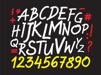 Vector alphabet written with a pen on tablet.