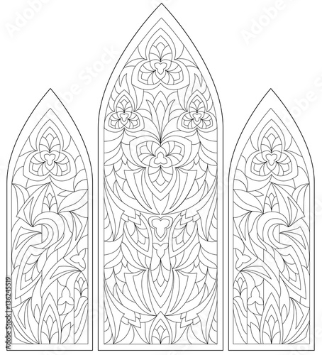 Black And White Page For Coloring Fantasy Drawing Of Beautiful Gothic Windows With Stained Glass