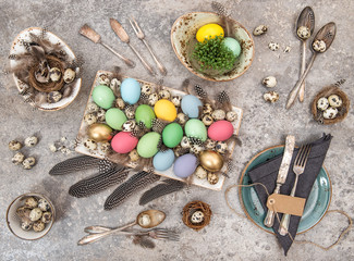 Easter eggs Table decoration Flat lay Top view