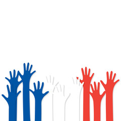 Vote. Hands in the colors of the France flag
