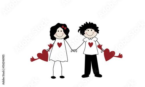 pareja de enamorados con corazones rojos stock image and royalty