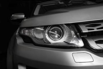 headlight of prestigious car closeup