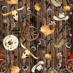 Wild West. Watercolor seamless pattern