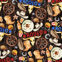Rodeo. Watercolor seamless pattern