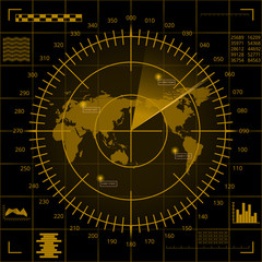 Digital yellow radar screen with world map, targets and futuristic user interface on black background