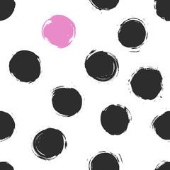 Abstract seamless vector pattern. Ink circle blot and spot creat - 136249366