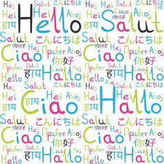 Hello all languages white background pattern rainbow freindship