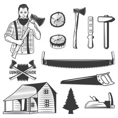 Set of lumberjack monochrome icons, design elements isolated on white background.