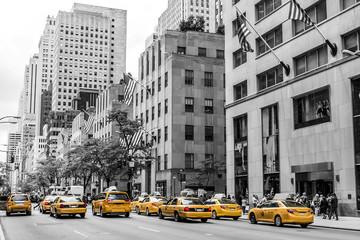Foto op Canvas New York TAXI New York City Taxi Streets USA Big Apple Skyline american flag black white yellow