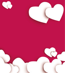 Valentine's day abstract background with cut paper hearts. Vector illustration